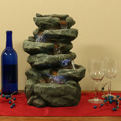 "NEW - 15"" 6 Tiered Stone Rock Falls, Indoor Waterfall Fountain Water Feature"