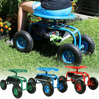 Rolling Garden Cart with 360 Degree Swivel Seat & Tray, Utility - Color Options