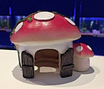 Kids Pink Mushroom House Colourful Fish Tank Aquarium Ornament MS208