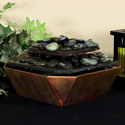 New Indoor Slate & Copper Table Water Fountain, Low Profile, River Rocks/Stones