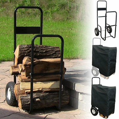 Firewood Log Cart or Cart w/ Cover, Heavy Duty Steel Dolly - Multiple Options