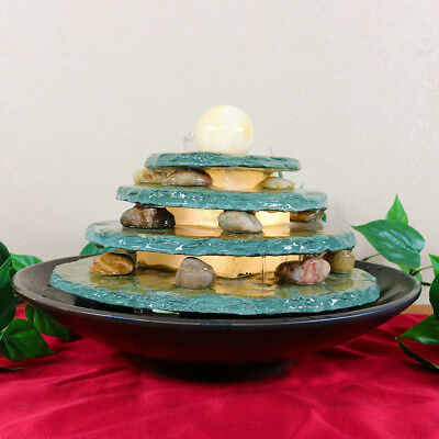 NEW-Multi-Level Tiered Slate Tabletop Water w/LED Light Fountain Decor Feature