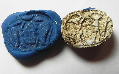 Zurqieh -Af743- Ancient Egypt , New Kingdom Steatite Scarab. 1400 B.c