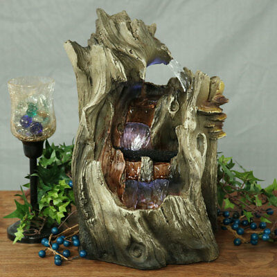"""New """"Cascading Caves"""" Waterfall Tabletop Fountain w/Glowing LEDs, Tree-Like Form"""