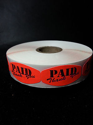 "1.5"" x .75"" PAID THANK YOU MERCHANDISE LABELS 1000 PER ROLL FL RED BLACK STICKER"