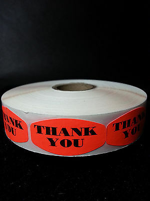 "1.5"" x .75"" THANK YOU MERCHANDISE LABELS 1000 PER ROLL FL RED BLACK STICKER"