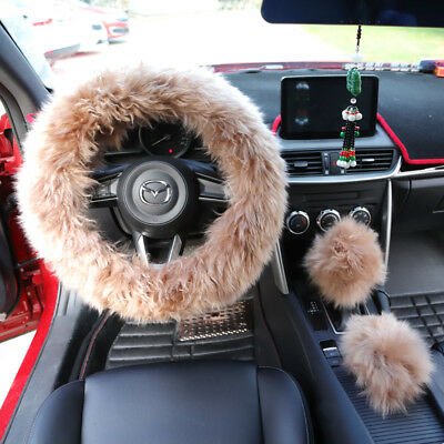 Universal Winter Warm Faux Wool Plush Steering Wheel Cover Protector Pale Mauve