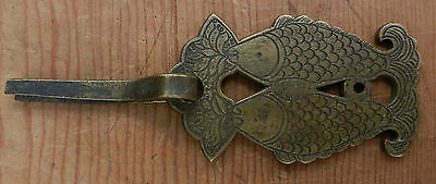 Chinese Trunk Handle Double Fish Brass Drawer Pull Cotter Pin Lid Lift Ship 4.95