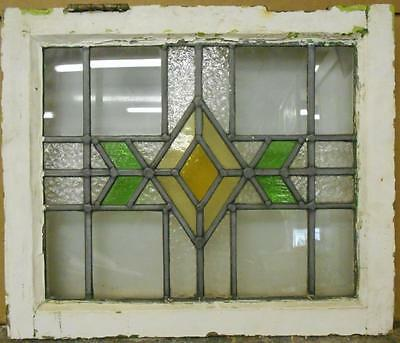 "OLD ENGLISH LEADED STAINED GLASS WINDOW Nice Geometric Design 20"" x 16.75"""