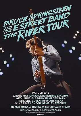 Bruce Springsteen - The River UK Tour Dates 2016 - A4 Photo Print