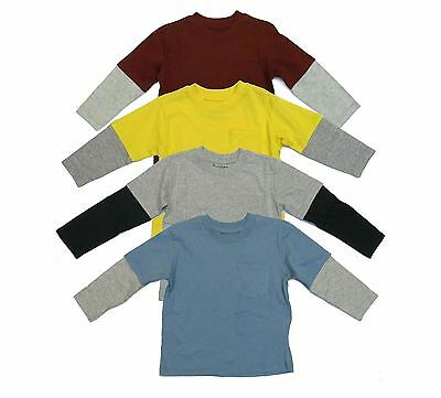 Top Solid Boys Children T-Shirt Long Sleeve Kids Basic Pocket Size 4 5 6 7 New