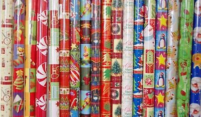 5M Rolls Christmas Xmas Gift Wrapping Paper Assorted Design Tree Santa Bell Tags