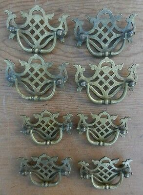 8 CAST BRASS Antique 19th Century Chippendale Style Drawer Pulls - 2 Sizes GOOD