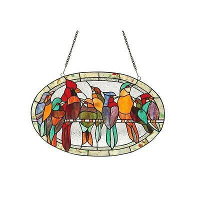 Chloe Tiffany-style Bird Design Round Window Panel Hanging Stained Glass Decor