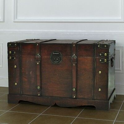 Brown Wooden Vintage Large Treasure Storage Chest Box Trunk Craft Furniture