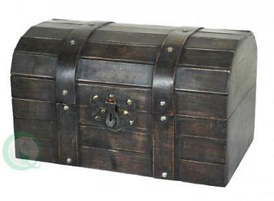 NEW Vintiquewise Old Style Barn Trunk, Wood, Antique Brown
