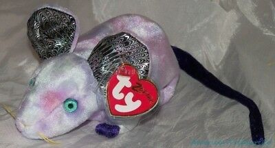 "New 2000 TY BEANIE BABIES ZODIAC Plush Lavender Tie Dye 6"" RAT YEAR OF THE RAT"