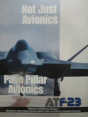 2//1991 PUB NORTHROP MCDONNELL DOUGLAS YF-23 F-23 STEALTH ATF FIGHTER ORIGINAL AD