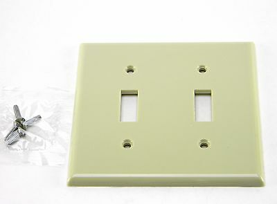 New Leviton Ivory Plastic Wall Plate 2 Gang Toggle Switch Cover With Screws