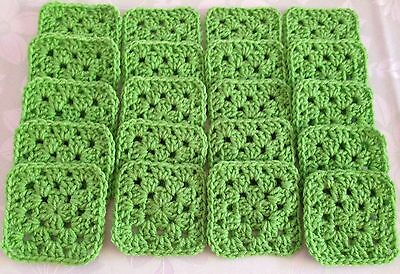 "20 4"" SPRING GREEN Hand Crocheted GRANNY SQUARES Afghan Throw Blanket Blocks"