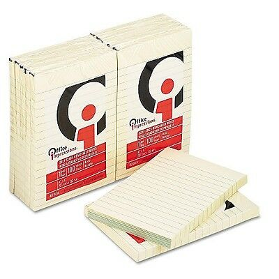Office Impressions -Yellow Self-Stick Notes 4X6 Lined 12 100-Sheet Pads/Pack