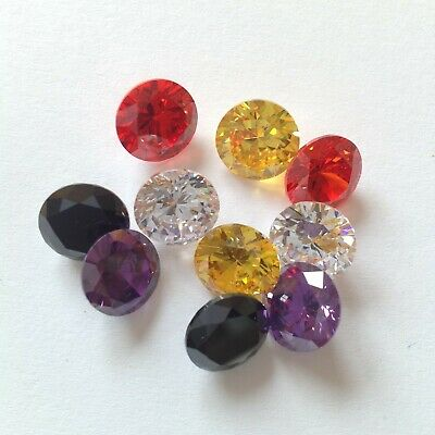 CUBIC ZIRCONIA AAA Loose Mixed lot 2-10mm ALL COLOR Round CZ Stone Wholesale USA