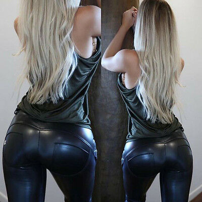 Sexy Women High Waist Stretch Skinny Pencil Pants Leather Leggings Trousers S-XL