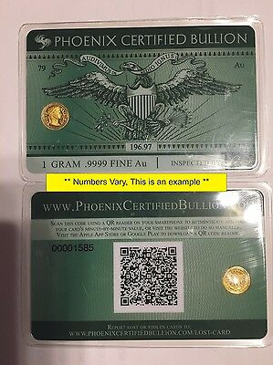 1 Gram .9999 GOLD Prepper Currency of the Future - Credit Card Style