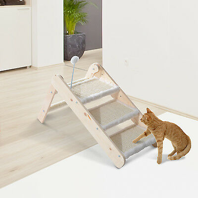 PawHut Cat Dog Foldable Ladder/Ramp Scratcher Wooden 3 Steps Pet Stair w/ Toy