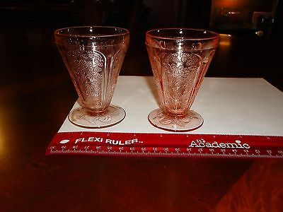 """LOT Jeanette Glass Cherry Blossom Pretty Pink 3-3/4"""" Tumblers Juice Set Of 2"""