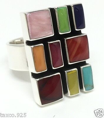 Taxco Mexican 925 Sterling Silver Multi Mosaic Inlay Adjustable Ring Mexico