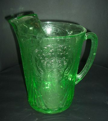 Green Royal Lace Depression Glass 48 oz. Pitcher - Straight Sides