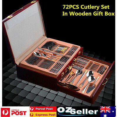72pcs Deluxe Stainless Steel Cutlery Set Family Dinner Tableware Wooden Box Gift