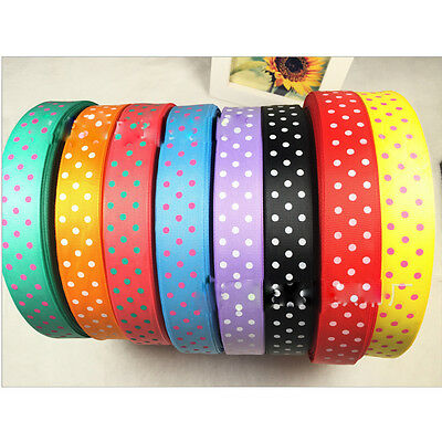 5,20,40 Yards 25mm dot Satin Edge Grosgrain Ribbon Bow Craft Wedding DIY B093