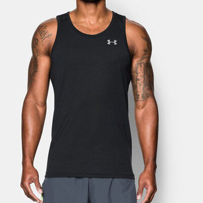 Under Armour Streaker Hombre Negro Absorbe Running Entrenar Chaleco Camiseta