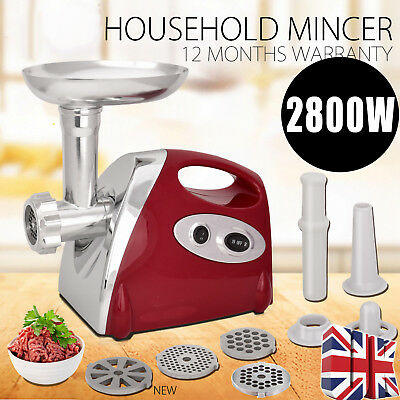 2800W Kitchen Steel Electric Meat Mincer Grinder Sausage Maker Filler Red