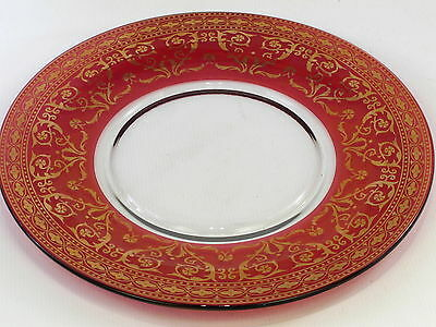 Ruby Red & Gold Large Glass Plate (Anniversary?) 297mm Diameter 11 3/4""
