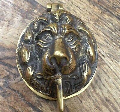 Antique Solid Brass Victorian Lion's Head Front Door Yale Lock Cover Escutcheon