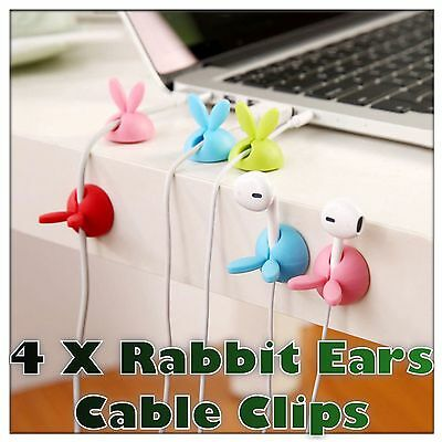 4 x Rabbit Ears Cable Wire Cord Lead Drop Clips Usb Charger Holder Tidy Desk