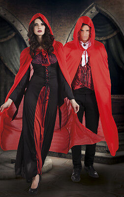 VAMPIRE CAPE Red/Purple/Black| MENS LADIES Size  Halloween Fancy Dress Accessory