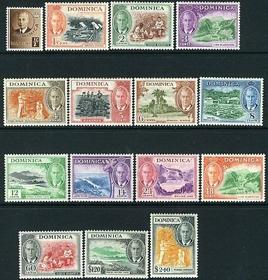 DOMINICA-1951 Set to $2.40 Sg 120-134 LIGHTLY  MOUNTED MINT V12185