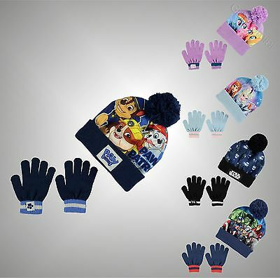 Kids Boys Girls Branded Character Print 2 Piece Winter Accessory Set Hat Gloves