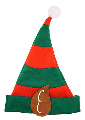 Adult Size Elf Hat With Pixie Ears In Red & Green - Christmas Fancy Dress W38530