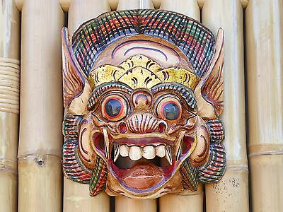 Hand Carved & Painted Wooden Balinese Barong Mask 24cm..