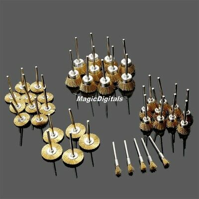 Hot 5mm 15mm 22mm 25mm Brass Wire Brush Polish  Grinder Drill Rotary Tool 40Pc