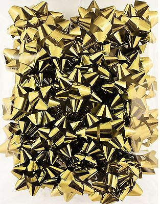 25 Gold Metallic Gift Bow Self Adhesive Present Christmas Party Decor Wedding
