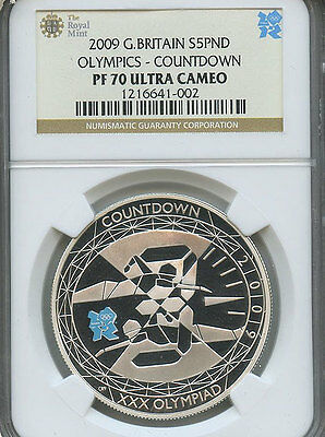 2009 Great Britain Silver £5 Olympic Countdown First Year Release PF-70 NGC