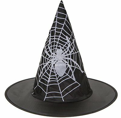 Childrens Kids Spider Web Print Witch Witches Hat Halloween Fancy Dress 972002