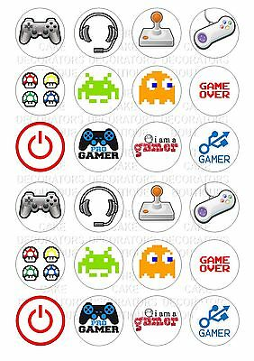 24 Gamer Gaming Iced Icing Frosting Cupcake Topper Edible Fairy Cake Bun Toppers