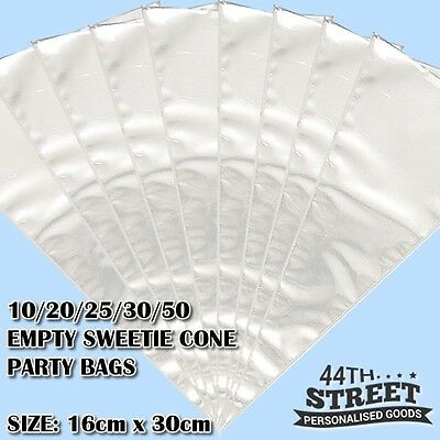 Clear Cellophane Sweet Cone Bags - Kids Birthday Party Cello Bags Size 16 x 30cm